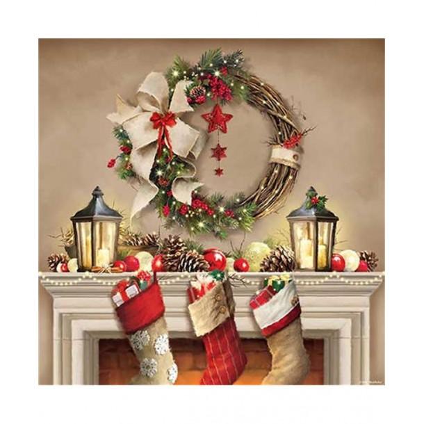 20 Tovaglioli Natale Con Camino/Ghirlanda 33x33