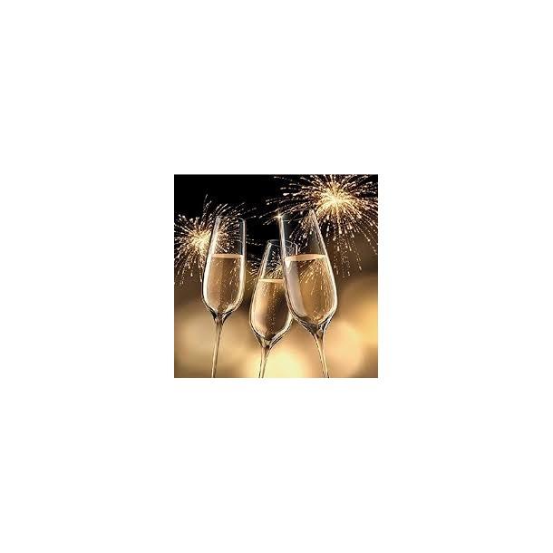 20 Tovaglioli Natale Brindisi Oro 33x33 Celebretion Gold