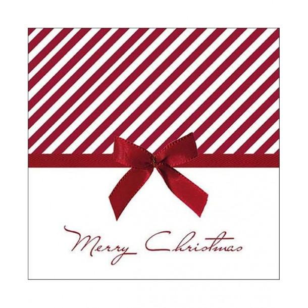 20 Tovaglioli Natale Con Fiocco Red 33x33