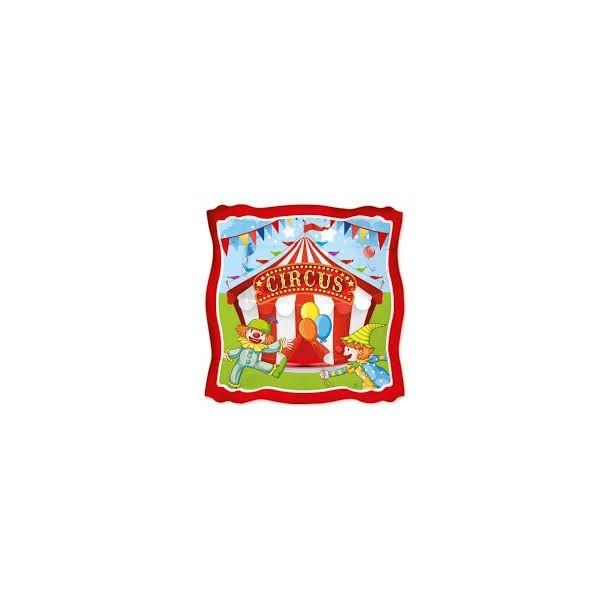 8 Piatti Quadrati In Carta Linea Party Circus 24 x24 cm