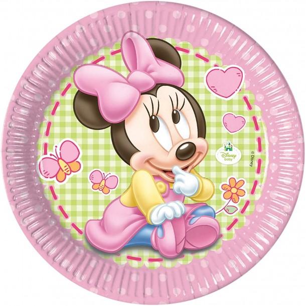 8 Piatti In Carta Minnie Baby 23 cm