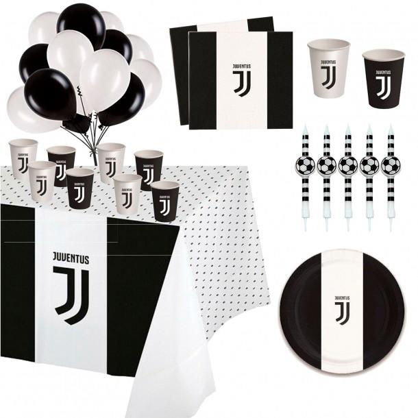 Kit Tavola Party Juventus Con Candelina per Torta Palloncini Piatti Bicchieri Tovaglioli Tovaglia