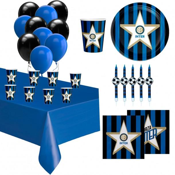 Kit Tavola Party Inter Con Candeline per Torta Palloncini Piatti Bicchieri Tovaglioli Tovaglia