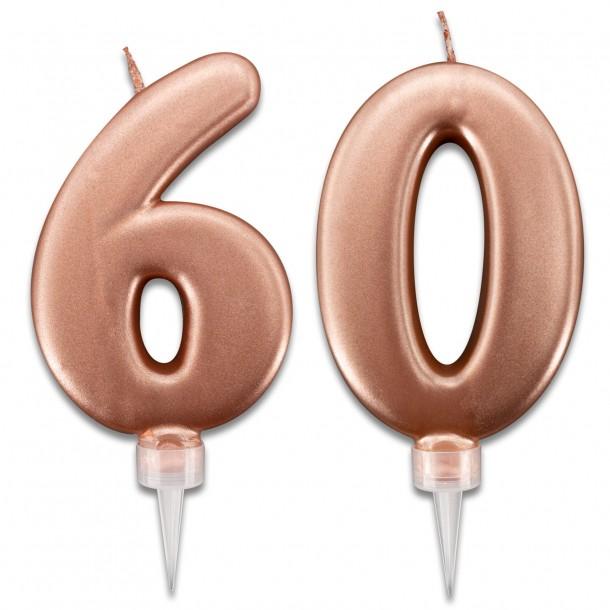 Candeline 60 Anni Rosa Gold per Torta Festa Compleanno