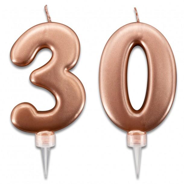 Candeline 30 Anni Rosa Gold per Torta Festa Compleanno