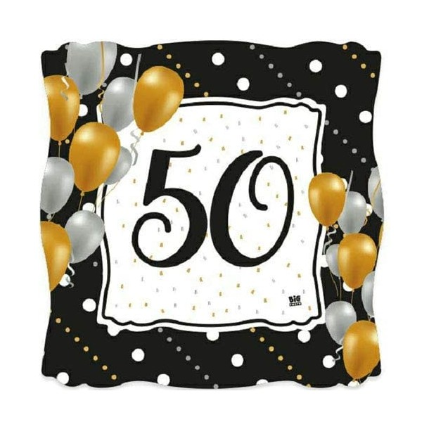 8 Piatti Quadrati In Carta Prestige 50 Anni