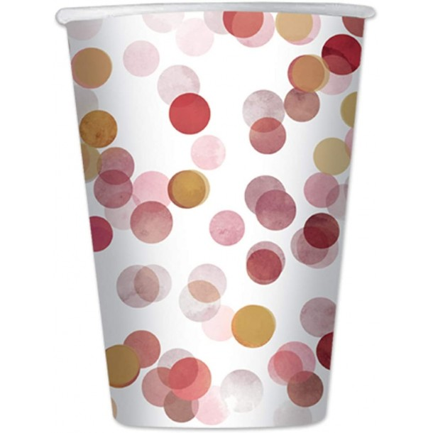 8 Bicchieri In Carta Coriandoli Rosa