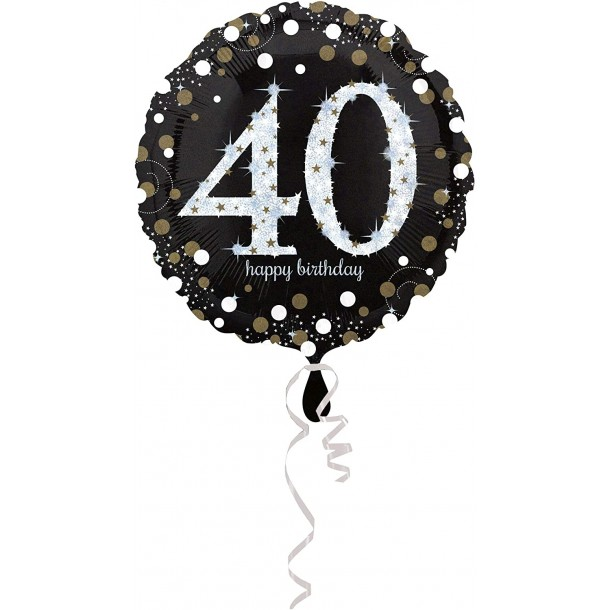 Palloncino Mylar Tondo 40 Anni Happy Birthday Silver