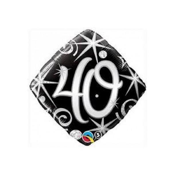 Palloncino Mylar Quadrato 40 Anni Nero/Argento