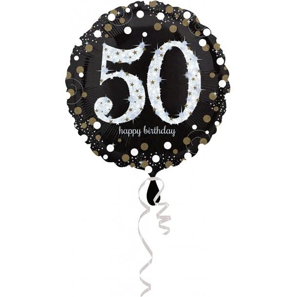 Palloncino Mylar Tondo 50 Anni Happy Birthday Silver