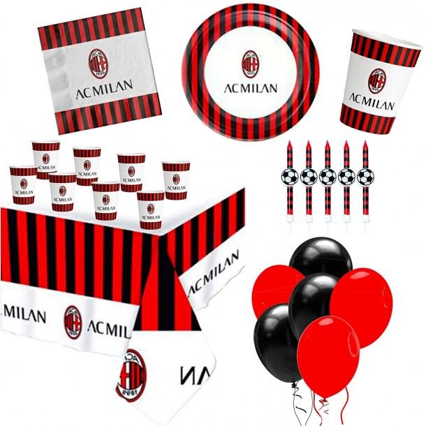 Kit Tavola Party Milan Con Candelina per Torta Palloncini Piatti Bicchieri Tovaglioli Tovaglia