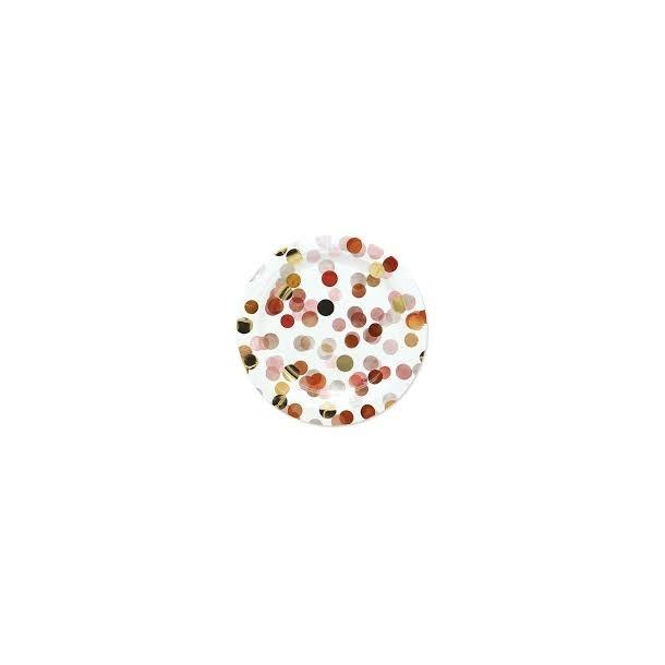 8 Piatti In Carta Coriandoli Rosa Diam. 18 cm