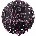 Palloncino Foil Tondo Happy Birthday Rosa