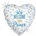 Palloncino Cuore Welcome Little Prince Glitter 45 cm azzurro