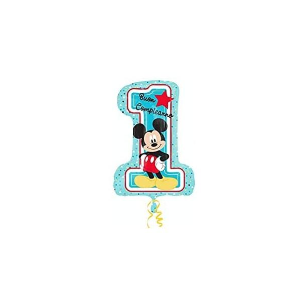 Palloncino Foil Numero 1 Primo Compleanno Mickey Mouse